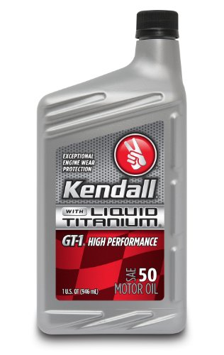 Kendall 1057273 GT-1 High Performance SAE 50 Motor Oil with Liquid Titanium - 1 Quart Bottle (Case of 12)