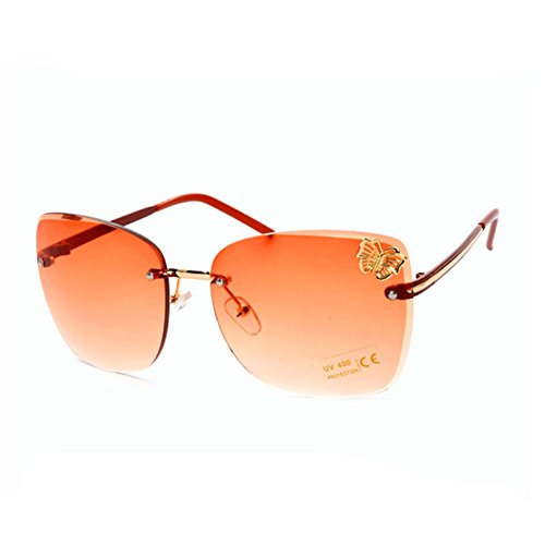 HaiBote Womens High Quality Fashion Eyewear Sunglasses Butterfly Embellishment - For Eyeglasses Oblong Shape Face Best