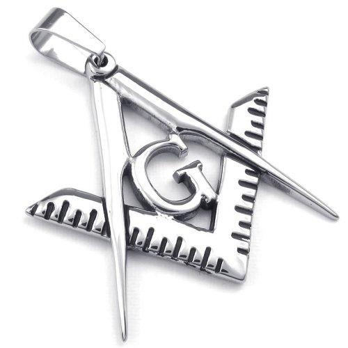 KONOV Mens Freemason Masonic Stainless Steel Pendant Necklace, Silver, 24