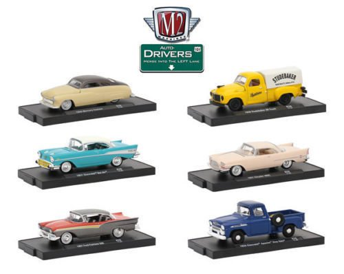 New 1:64 AUTO DRIVERS SERIES 39 ASSORTMENT Diecast Model Car By M2 Machines Set of 6 Cars