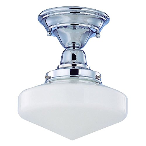120v Line Voltage Round Canopy (8-Inch Schoolhouse Ceiling Light in Chrome Finish)