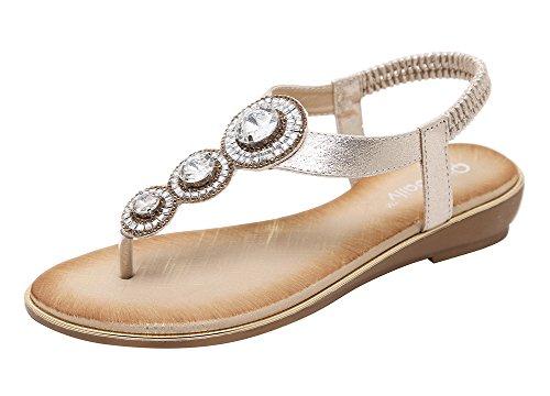 Agowoo Womens Namaakbont Pull Op Riem Platte String Juwelen Sandalen Goud