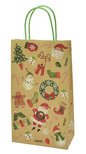 Christmas Tall Gift Bags White Kraft 12 Pack Buy Online