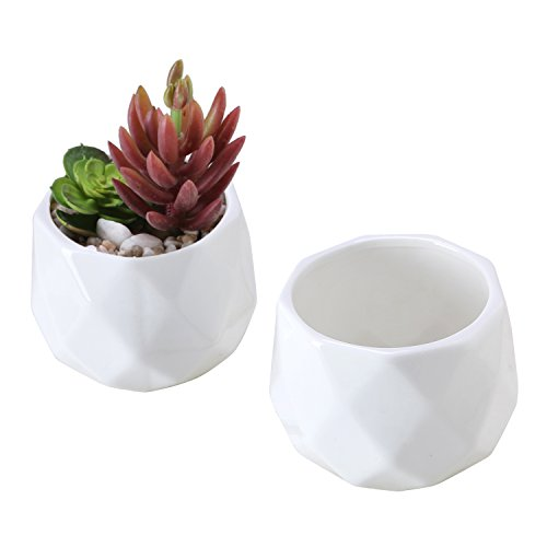 4 Inch Planter - Small 4 Inch White Ceramic Faceted Succulent Planters, Geometric Mini Cactus Pots, Set of 2