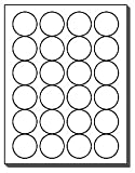 480 Label Outfitters Round Labels, 24 per Sheet, 1-5/8 inch Diameter Round White Matte Labels