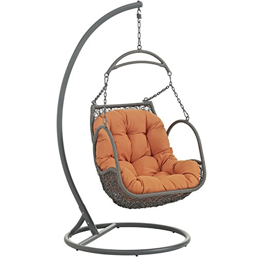 - Modway EEI-2279-ORA-SET Arbor Outdoor Patio Balcony Porch Lounge Swing Chair Set with Stand Orange