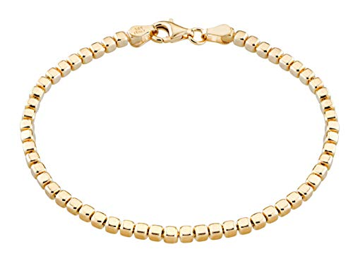 MiaBella 925 Sterling Silver Organic Cube Bead Chain Bracelet Women Men Choice of White or 18K Yellow Gold Over Silver, 7