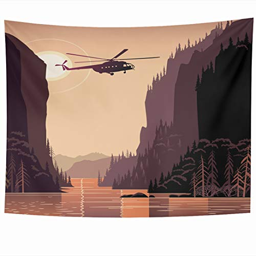 - Ahawoso Tapestry 60 x 50 Inches Upwards River Mountain Helicopter Taiga Evening Light Outdoors Nature Canyon Forest Lake Retro Design Wall Hanging Home Decor Tapestries for Living Room Bedroom Dorm