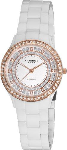 Akribos XXIV Women's AK509WTR Crystal Embellished Ceramic Watch with Link Bracelet
