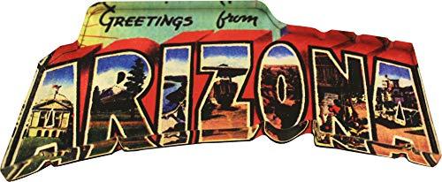 Flagline Arizona - Postcard Greetings from Arizona Acrylic Magnet (3.25