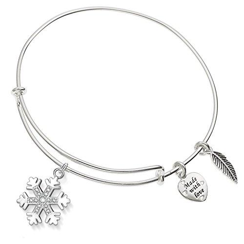 Enni of York Crystal Snowflake Charm Silver-Tone Expandable Bangle Bracelet