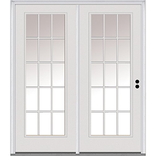 National Door Company Z001634L Steel Primed, Left Hand In-swing, Patio Door, 15 Lite External Grilles, Clear Glass, 72