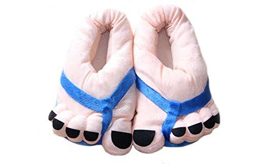 DELEY Unisex Cartoon Kostüm Großen Füßen und Zehen Weicher Plüsch Hausschuhe Erwachsene Startseite Schuhe Blau