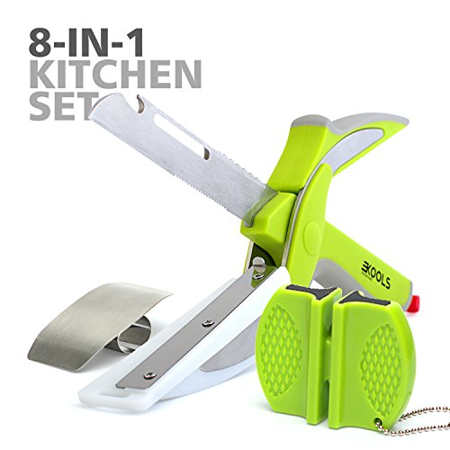 Cutter Sharpener - Clever 8-in-1 Food Chopper Set - with Chopping Board and Detachable Knife, Ideal as Vegetable and Meat Chopper or Slicer, Bottle Opener, Peeler, including Sharpener and Finger Guard