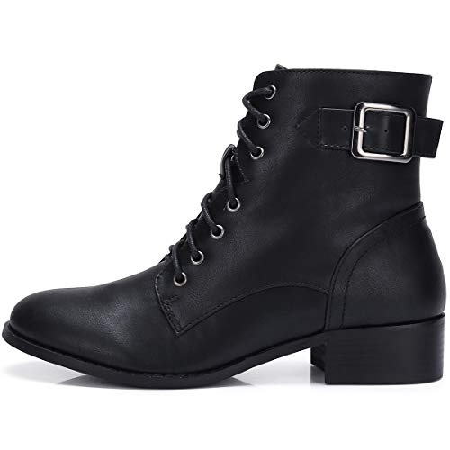 CAMEL CROWN Women's Combat Style Lace Up Ankle Booties Faux Leather Stylish Chunky Low Heel Ankle Boots with Zipper, Size 9 Black