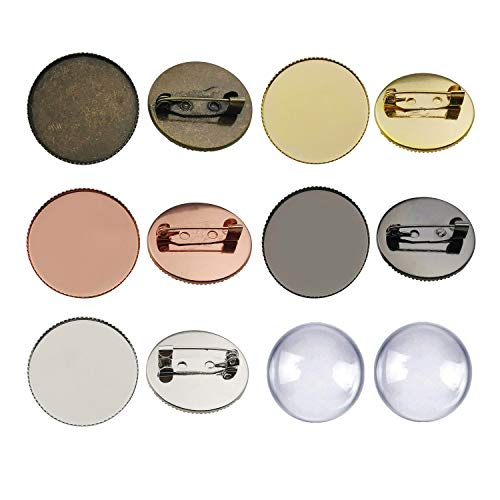 - ilovediybeads 10 Sets Mixed Brass Cabochon Frame Setting Tray Pin Back Brooches with Clear Round Glass Dome Tile Cabochon 25mm M243