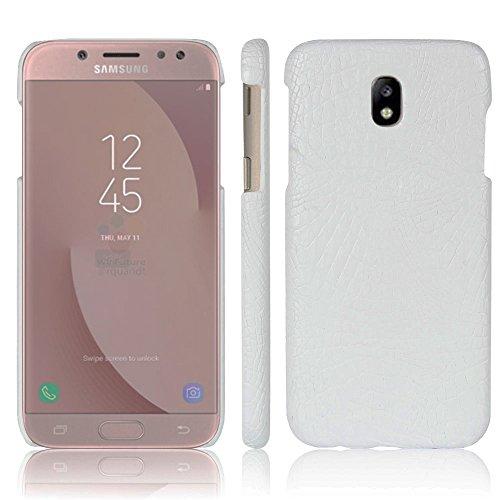 Funda Samsung Galaxy J7 2017, SunFay Funda Posterior Protector de PC Carcasa Back Cover de Parachoques Piel PU Protectora de Teléfono Para Samsung Galaxy J7 2017 - Rojo Blanco