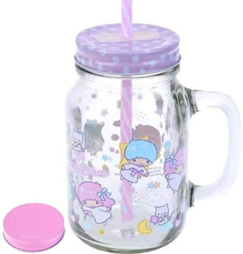 Cup Star Tin - Little Twin Stars 600ml Mason Jar Glass Drinking Mug with Straw 2-Lids for Drinks and Storage