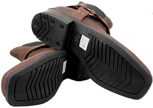 Mens Brown Leather Cowboy Biker Boots P0JHnQ