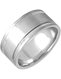 14K White Gold Top Flat Mens Comfort Fit Wedding Band