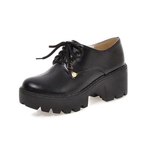 VogueZone009 Damen Weiches Material Schnüren Rund Zehe Eingelegt Pumps Schuhe Schwarz