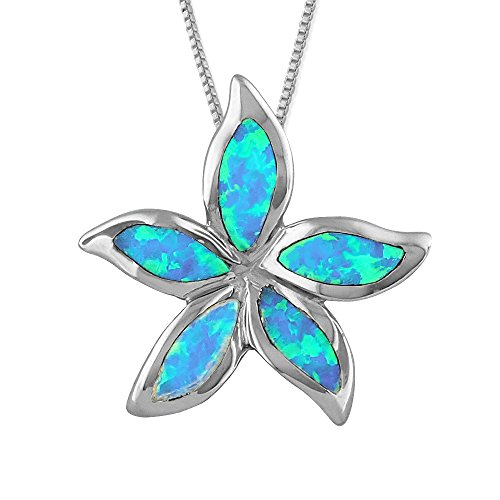 Sterling Silver Synthetic Blue Opal 3/4 Inch Starfish/Plumeria Pendant Necklace, 16+2