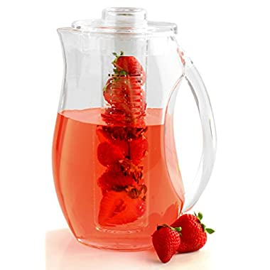 Fruit Infusion Pitcher - Shatter Proof Acrylic - 3 Quart - By Decodyne