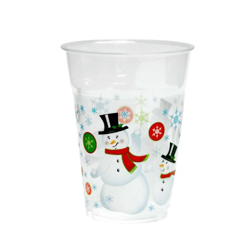 Party Essentials 20 Count Soft Plastic Printed Party Cups, 16-Ounce, Snowman