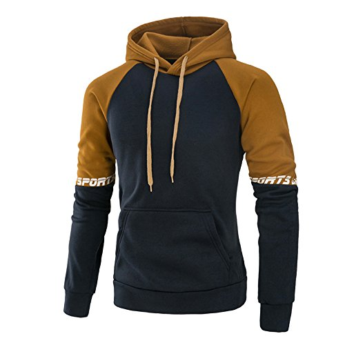 GOVOW Cotton Patchwork Hoodie Men's Long Sleeve Hooded Sweat