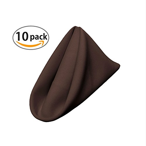LA Linen 10-Pack Polyester Poplin Napkins, 18 by 18-Inch, Brown (Brown Dinner Chocolate Napkins)