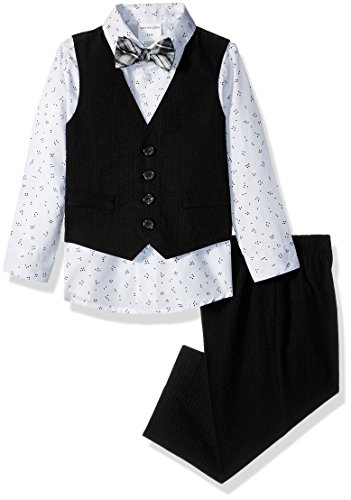 Van Heusen Baby Boys 4-Piece Patterned Dresswear Vest Set, Seersucker Black, 18M