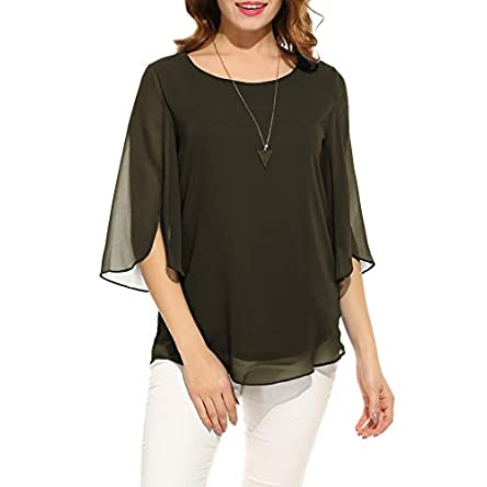 ACEVOG Womens Casual Scoop Neck Loose Top 3/4 Sleeve Chiffon Blouse Shirt Tops