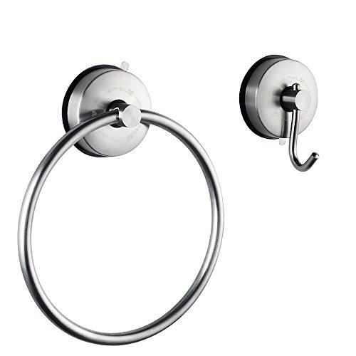 JOMOLA 2PCS Vacuum Suction Cup Set WithHand Towel Ring & Single Wall Hook Holder for Kitchen Shower Bathroom Hardware Accessory Hanger,304 Stainless Steel,Brushed Finish