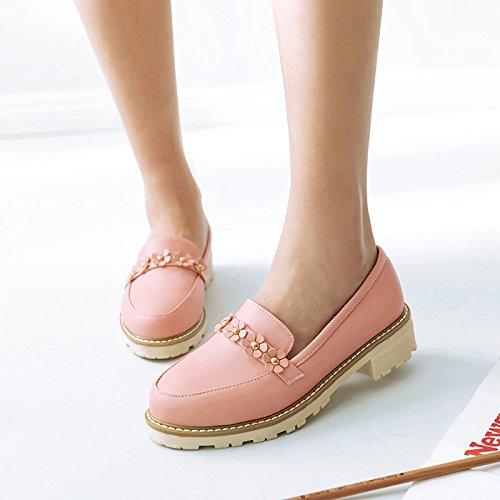 Show Shine Dames Dikke Hak Dia Pompen Loafers Schoenen Roze