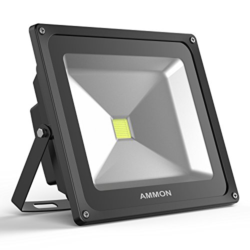 AMMON LED Flood Light, 50W Outdoor Security Lights Waterproof IP65 4000lm Super Bright Exterior Flood Lamp Cool White 6000K Spotlight Daylight for Garden Yard, Party, Playground(black-50watt)