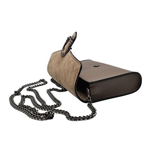#MYITALIANBAG RONDA Bolsa italiana Clutch Baguette bandolera con la correa de cadena en níquel oscuro, cuero liso y solapa de gamuza Kupplung turteltaube