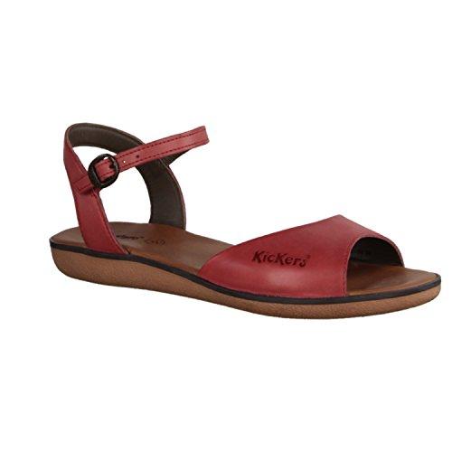 Kickers Hypsy 349963-4- Damenschuhe Sandalette / Sling, Rot,  leder, absatzhöhe:    flach