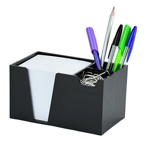 Acrimet Desktop Organizer Pencil Paper Clip Caddy Holder Plastic) (with Paper) (Black Color)