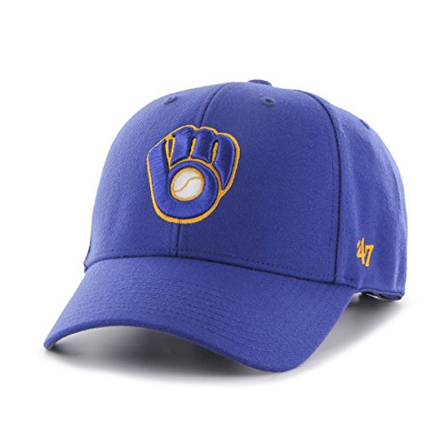 '47 MLB Milwaukee Brewers Juke MVP Adjustable Hat, One Size, Royal-Alternate