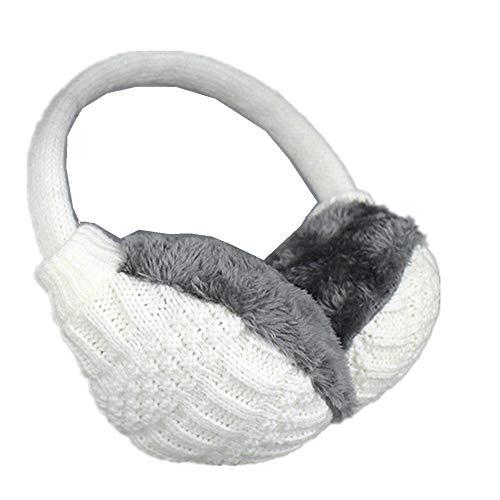 Knitted Wool Warm Earmuffs-FuSi Cute Faux Furry Adjustable Winter Earmuffs (White)