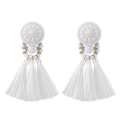 Dangle Frog Bead - Colorful Beads Thread Ethnic Charms Eardrop Long Tassel Dangle Drop Earrings (White)
