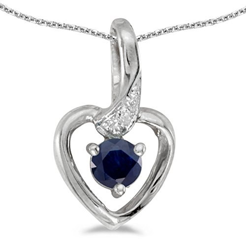 - 0.22 Carat (ctw) 14k White Gold Round Blue Sapphire and Diamond Women's Heart-shaped Pendant with 18