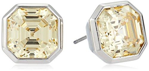 Nicole Miller 10 mm Signature Asscher Bezel Rhodium/ Light Yellow Stud (Asscher Stud Earrings)