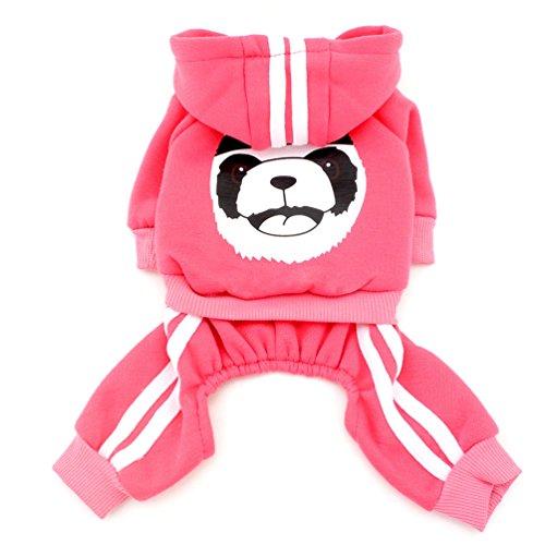 SMALLLEE_LUCKY_STORE Thick Warm Panda Hoodies Sweats Shirt Dog Jumpsuits Fleece, Pink, Small ()