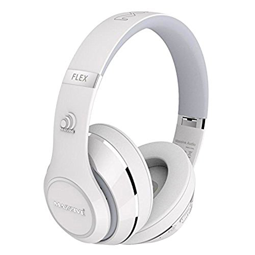 Massive Audio FLEX Noise Cancelling Bluetooth Headphones. Over Ear Bluetooth Headphones with Mic, Foam Ear Pads, and Over Sized Drivers for Heavy Bass. Enjoy 30 Hours of Great Sound! (White) by MASSIVE