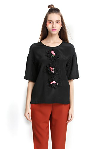 Eileen&Elisa Loose Casual Black T-Shirt for Women