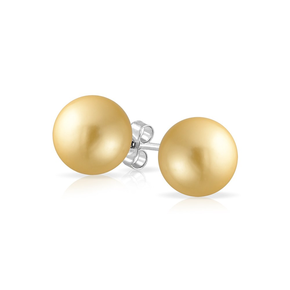 Golden Simulated Pearl Studs Sterling Silver Earrings Size 10mm