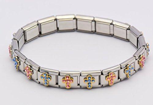 Reloj de mujer con esfera pulsera elástica de bolas con - Lourdes Creation, plateado con brillantes de Cruz Pulsera elástica - incluye bolsa de joyería/pulsera