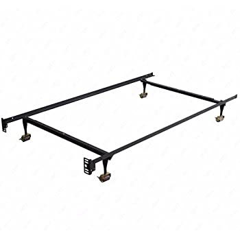 dfm heavy duty metal bed frame adjustable twin full queen size with rug rollers locking wheels