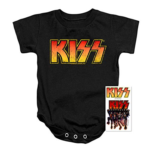 Rock Tees Baby (KISS Rock Music Distressed Vintage Logo Baby Onesie Bodysuit (6 Months) Black)